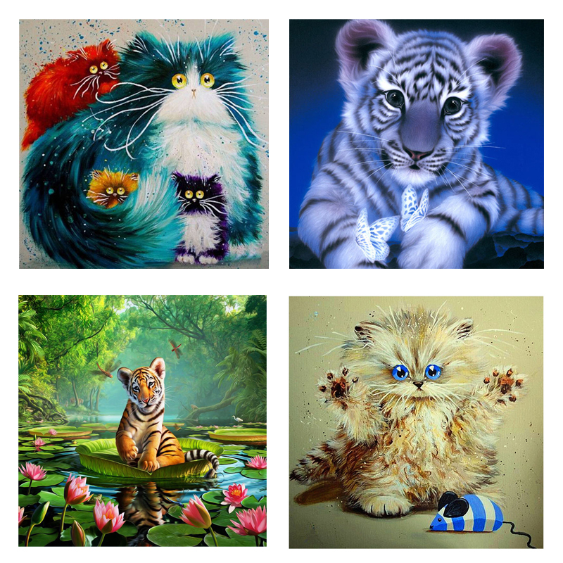 24 pattern 5d diy Diamond painting Cross Stitch kit Diamond Embroidery mosaic pattern flower animal landscape picture 30X30CM