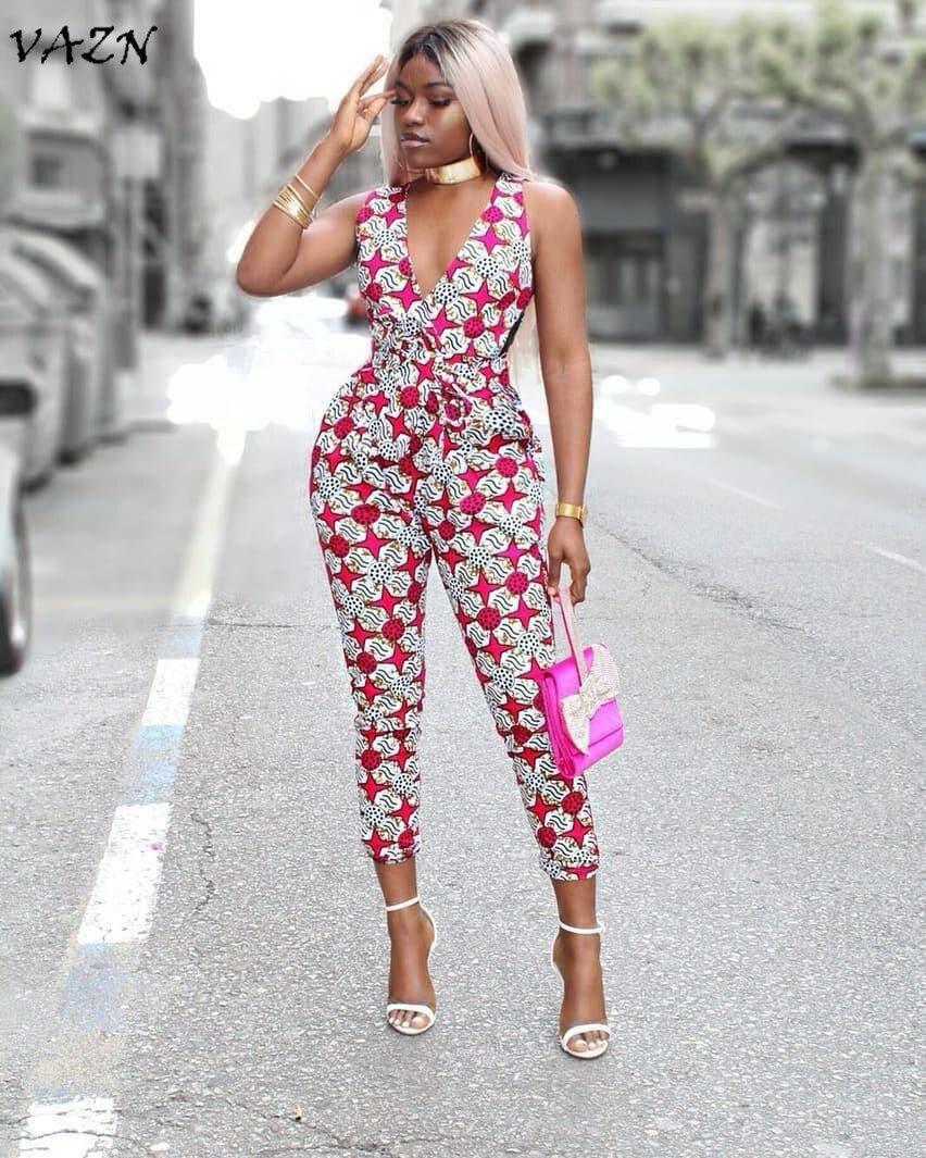 VAZN Hot Fashion Elegant Style 2018 Sexy Style Women   Jumpsuit   Print V-Neck Sleeveless Backless Bodycon Romper YS135