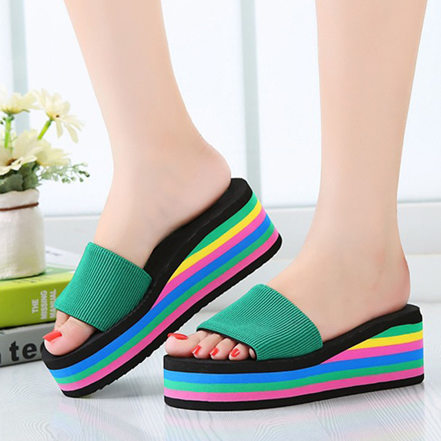 2b5ff8921f0 Rainbow Platform Slippers 2017 Summer Women Female Wedge Flip Flops Bohemia  Beach Shoes Woman Ladies Sandalias Mujer
