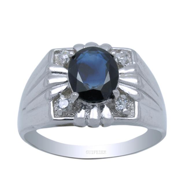 Design de moda anel de prata para o homem real 925 esterlina sólida homem anel de prata com alta qualidade natural sapphire jóia do homem presente