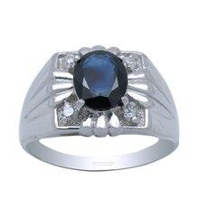Anillo de plata de diseño de moda para hombre real 925 esterlina sólida anillo de hombre de plata con zafiro natural de alta calidad de la joyería hombre regalo