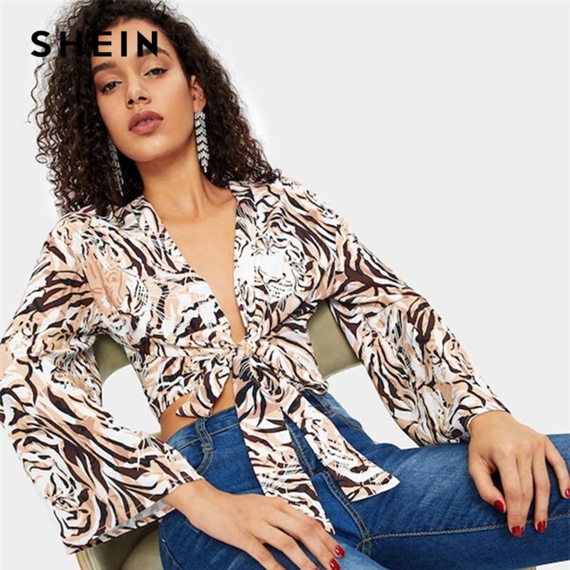 Aliexpress Com Buy Jeanne Love 2019 New Arrival Best: Aliexpress.com : Buy SHEIN Sexy Deep V Neck Tiger Print
