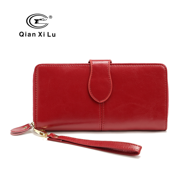 New Brand 100% Oil Wax Cowhide Leather Women Wallet Phone Pocket Purse Organizer Wallet Female Card Holder Lady Clutch Bag