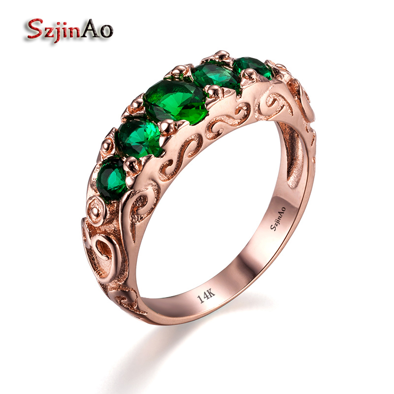 Szjinao Custom Noel Rose Gold Green Stone Bohemian Wedding Rings For Women
