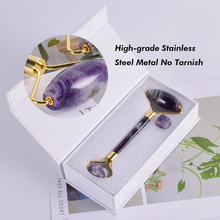 High grade Metal Facial Massage Roller Natural Amethyst Jade Roller Slimming Anti Wrinkle Cellulite Beauty Crystal Stone Tool