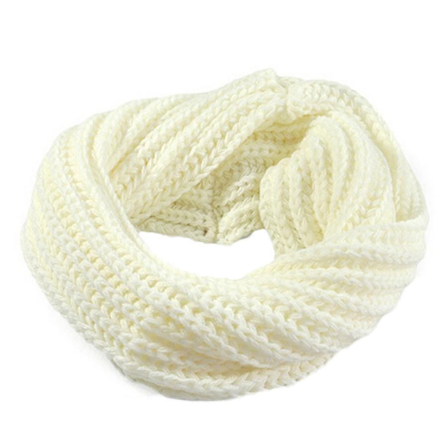 Осенне-зимний вязаный шерстяной шарф-шаль для мальчиков и девочек, теплый зимний шарф с воротником, Прямая поставка - Цвет: white