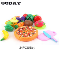 OCDAY 24 Pcs Set Kids Kitchen Toy Plastic Fruit Vegetable Food Cutting Toy Pretend Play Early