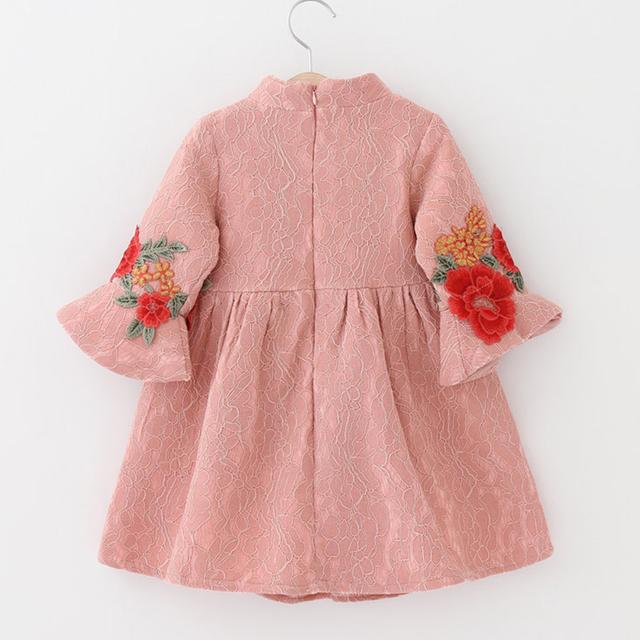Girls Flower Patterned Long Sleeve Chinese Dress