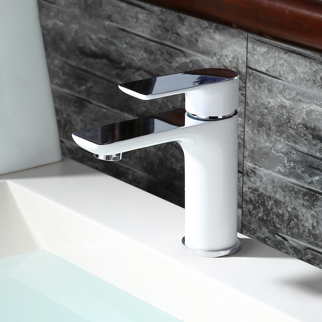 Solid brass new model white chrome plated basin mixer bathroom ...