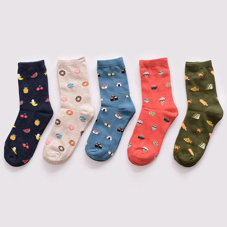 Winter New Fashion Korea Creative Cartoon Life Food Sushi Watermelon Male and Female Short 100% Cotton   Socks