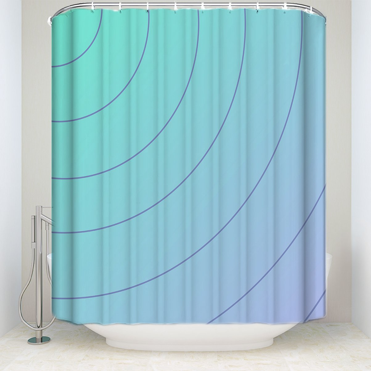 Shower Curtain Oblique Curve Geometric Pattern Waterproof Bathroom Shower Curtain Polyester Fabric Shower Curtain with Hooks