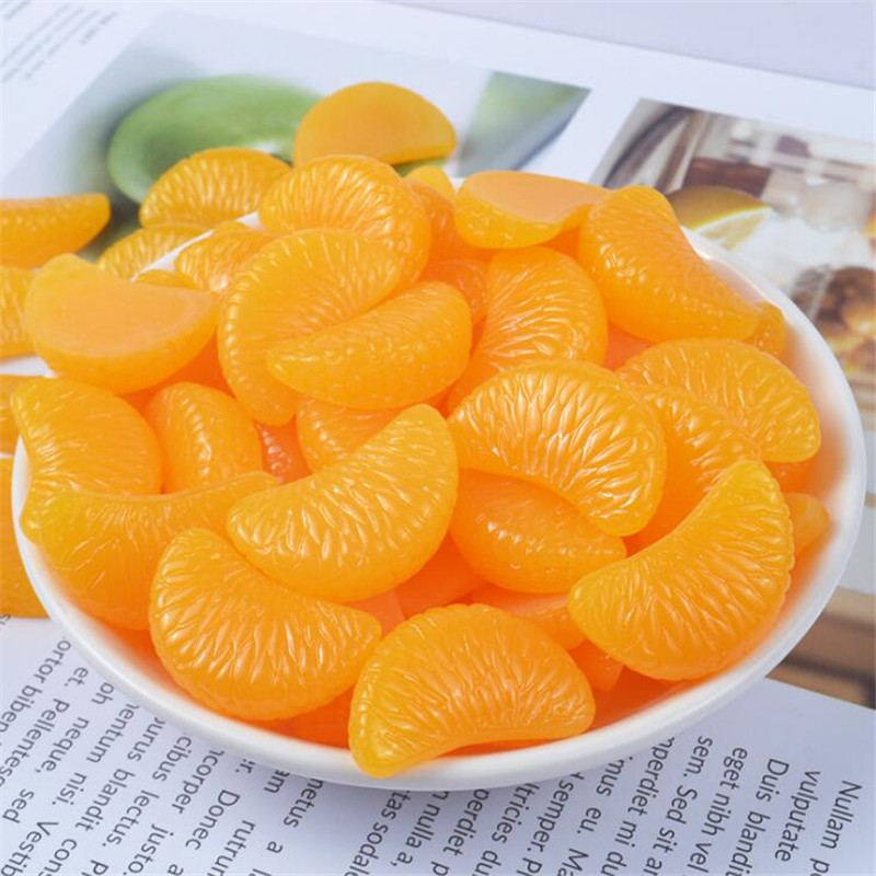 5PCS/Bag Simulated Fruit Resin Orange Jewelry Findings Components For Mobile Phone Case Earrings