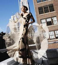 free shipping 2013 customized new Short-sleeve black lace applique bridal long design Red Carpet Designer Celebrity Dresses