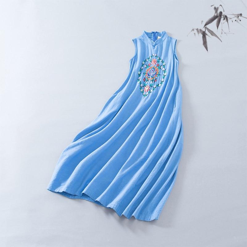 Women's Clothing Tireless 2018 New Arrival Summer Folk Style Embroidery A-line Cotton Dress Women Stand Collar Sleeveless Garment T1805100-86