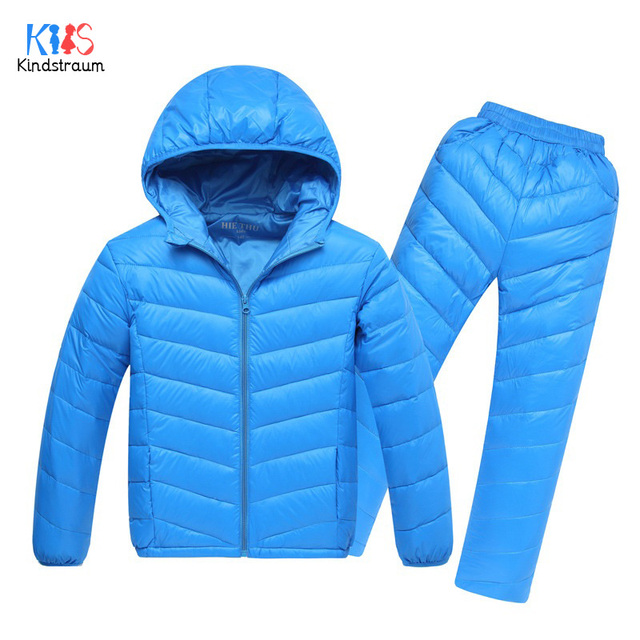 Kindstraum 2017 New Winter Children Thick Down Sets Kids Coat + Pants Warm Solid Wear Boys & Girls Hooded Clothing Suits,RC951