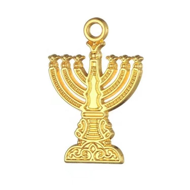 Skyrim Luxury Hanukah Menorah Gold Charms Jewish Jewelry For DIY