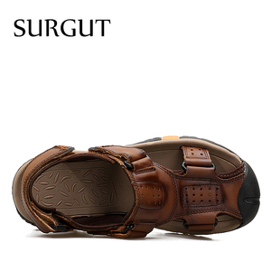 Image 4 - SURGUT Brand Men Breathable Casual Shoes Genuine Leather Sandals Male Rubber Beach Shoes Summer New Sandals Slippers Size 38 45