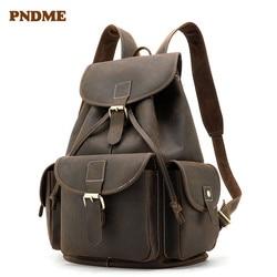 PNDME large capacity crazy horse leather mens womens backpack retro simple travel laptop bookbag genuine leather rucksack