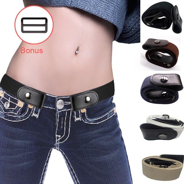 אבזם-משלוח אלסטי חגורת עבור ז 'אן מכנסיים שמלות לא אבזם למתוח מותניים חגורות fit נשים גברים בני בנות נשים חגורת