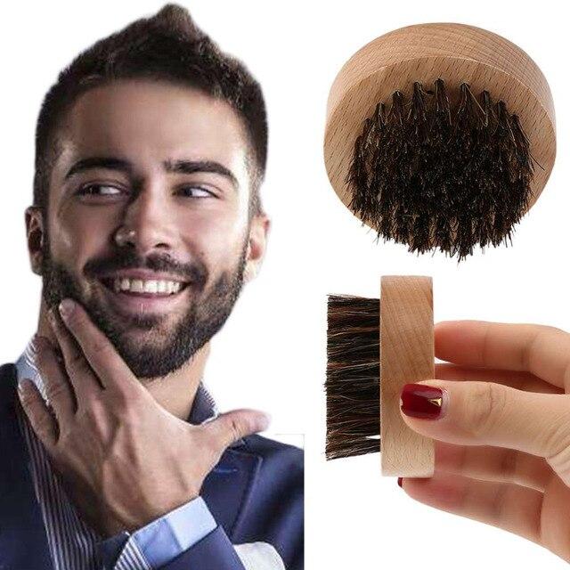 男性木材+イノシシ毛ラウンドひげブラシ顔の毛櫛ため口ひげコンディショニングスタイリングとメンテナンス