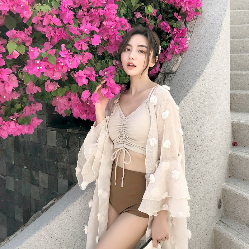 May Female Beach 2019 2 Piece Swimsuit Women Swimwear Two Rashguard Costume New Lace Three Sexy Up Issuing Solid Polyester