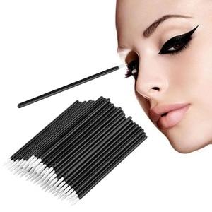 Image 2 - 50 adet naylon tek kullanımlık Eyeliner fırçası güzellik tırnak fırçası makyaj araçları Lipliner fırça aplikatör siyah makyaj fırçası aksesuarları