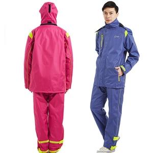 Image 3 - QIAN Brand Impermeable Raincoats Women/Men Jacket Pants Set Adults Rain Poncho Thicker Police Rain Gear Motorcycle Rainsuit