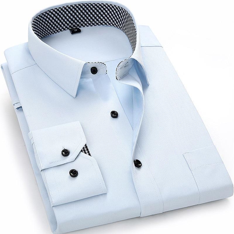 New Arrived 2018 Långärmad T-shirt herr Casual Pure Color / Twill Work Shirt Affär Formell Skjortor Herr Klänning Skjorta Stor Storlek