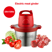 Commercial household electric meat grinder large capacity 5L stainless steel crushed garlic pepper ginger slice cuisine MM 808A