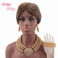 Latest Champagne Seed African Beads Jewelry Sets 3 Layers Crystal nigerian wedding beads bridal Indian Necklace Set W13387