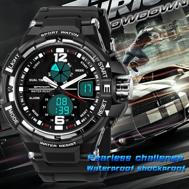 SANDA Fashion Watch Men and Women Lovers LED Sports Watches Waterproof Quartz Digital Watch Swimming Diving