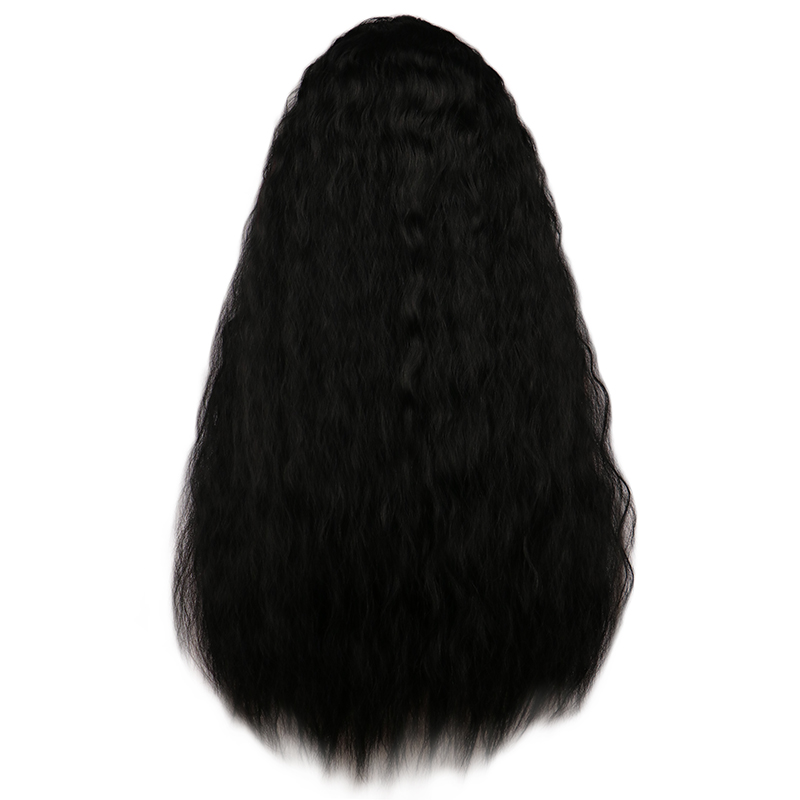 QQXCAIW Women Long Kinky Curly Wigs Black Brown Middle Part Full Heat Resistant Hair Synthetic Wig