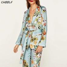 Spring New European Flower Print Women Suit Casual Ladies Blazer Jacket Pop472