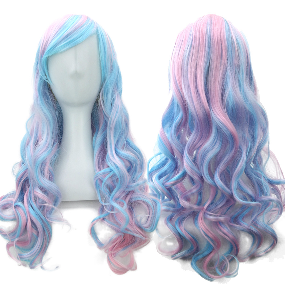 New Anime Game Lolita Cosplay Wig Halloween Play Party Mixed Color Blue Pink Wig Long Curly Wig+Hairnet Double Ponytail