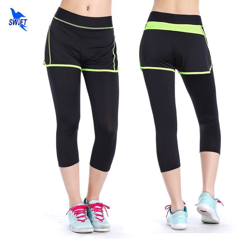 Womens Yoga Pants 3/4 Length High Elastic Waist Sportswear Fake 2 In 1 Fitness Gym Leggings Running Jogging Sports Trousers S-L