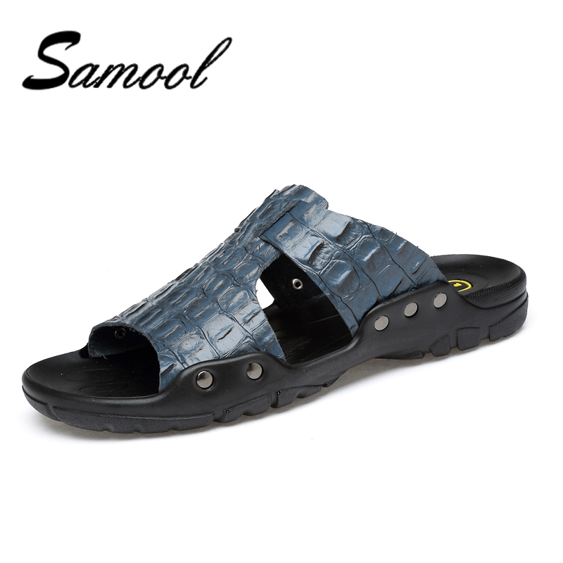 Summer Men's Slippers Plus Size 38-50 Beach Sandal Fashion Sandals Split Leather Casual Shoes Flip Flop Sapatos masculino nx5