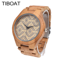 TIBOAT Classic Fashionable Bamboo Quartz Watch Bracelet Clasp Bamboo Strap Men's Watch Wood Styles Sports Clock Gift With box