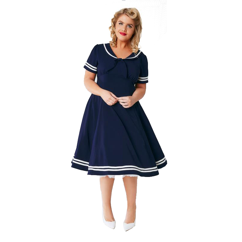 US $21.42 15% OFF|White piping navy blue plus size dress for women summer  short sleeve high waist oversized midi dress ladies navy collar dresses-in  ...
