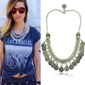 2016 New Fashion Statement Necklaces & Pendants Coin Vintage Necklace For Women