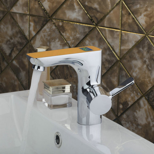 Ouboni Basin Faucets Torneira Small Digital Display Bathroom Chrome Brass 97122 Single Handle Sink Faucets,Mixers &Taps