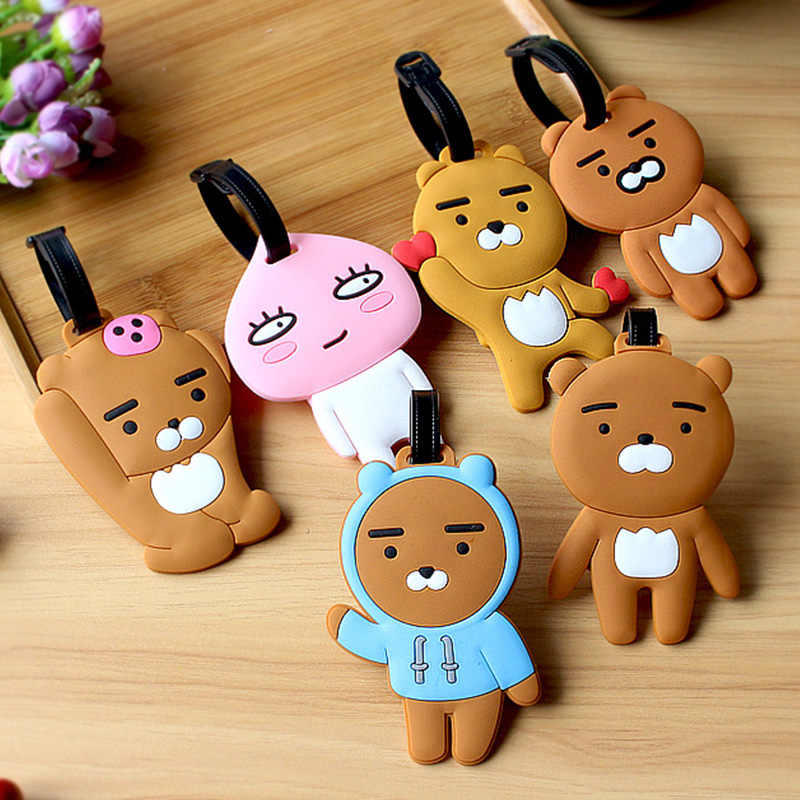 Women Men Luggage Tag Silicone Cartoon Cute Bear Suitcase Tags Name Address Holder Baggage Boarding Tags Label