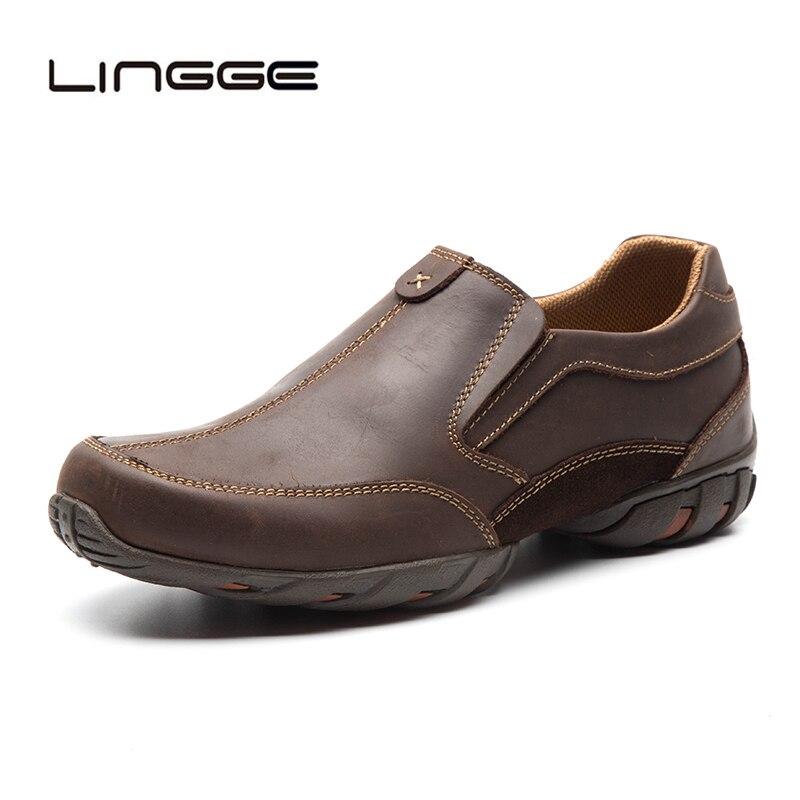 LINGGE 100 Genuine Leather Men Loafers Summer Men Casual Shoes Slip On Designer Men Oxfords Shoes