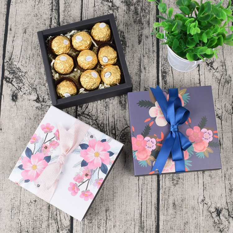 5 Pcs Gift Candy Box For Wedding Party Birthday Flowers Sakura Drawer Paper Box Cake Chocolate Gift Paper Packaging Cardboard