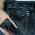 Grado 7A Peruana Clip en Extensiones de Cabello Humano Clip en la Extensión Del Pelo Peruano Virginal Recto negro color 1b, 7 unids/set 8-30 pulgadas