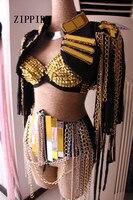 Сексуальный женский сценический костюм для певцов Женская певица DJ DS Золотая зеркальная цепочка с кисточками без рукавов куртка одежда тан