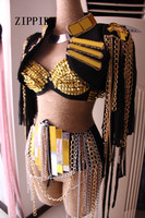2016 Sexy Women Stage Costume For Singers Female Singer Dj Ds Gold Mirror Chain Tassel Sleeveless