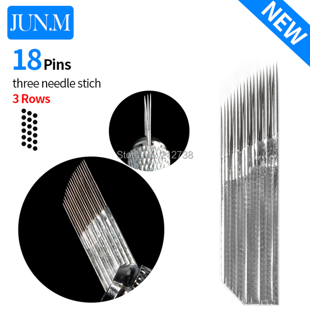 Newest  3 rows Line 18Pins Needle Permanent Eyebrow Makeup Needle Blades For 3D Microblading Pen Manual Embroidery-A0