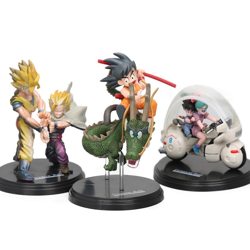 8-17cm Son Goku Bulma Motorcycle Gohan Shenron PVC Action Figures Dragon Ball Z Fantastic Arts Collection Model Dolls Brinqudoes