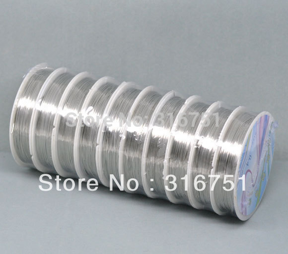 Hot Sale free Shipping 10 Rolls Silver Tone Copper Beading Wire 0.4mm 17m/roll =170m -W0 ...