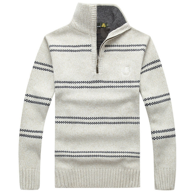 Sweater Men 2016 New Winter Mens Cashmere Sweater Zipper Casual Sweater Stand High Collar Striped Knitwear Clothes MY037